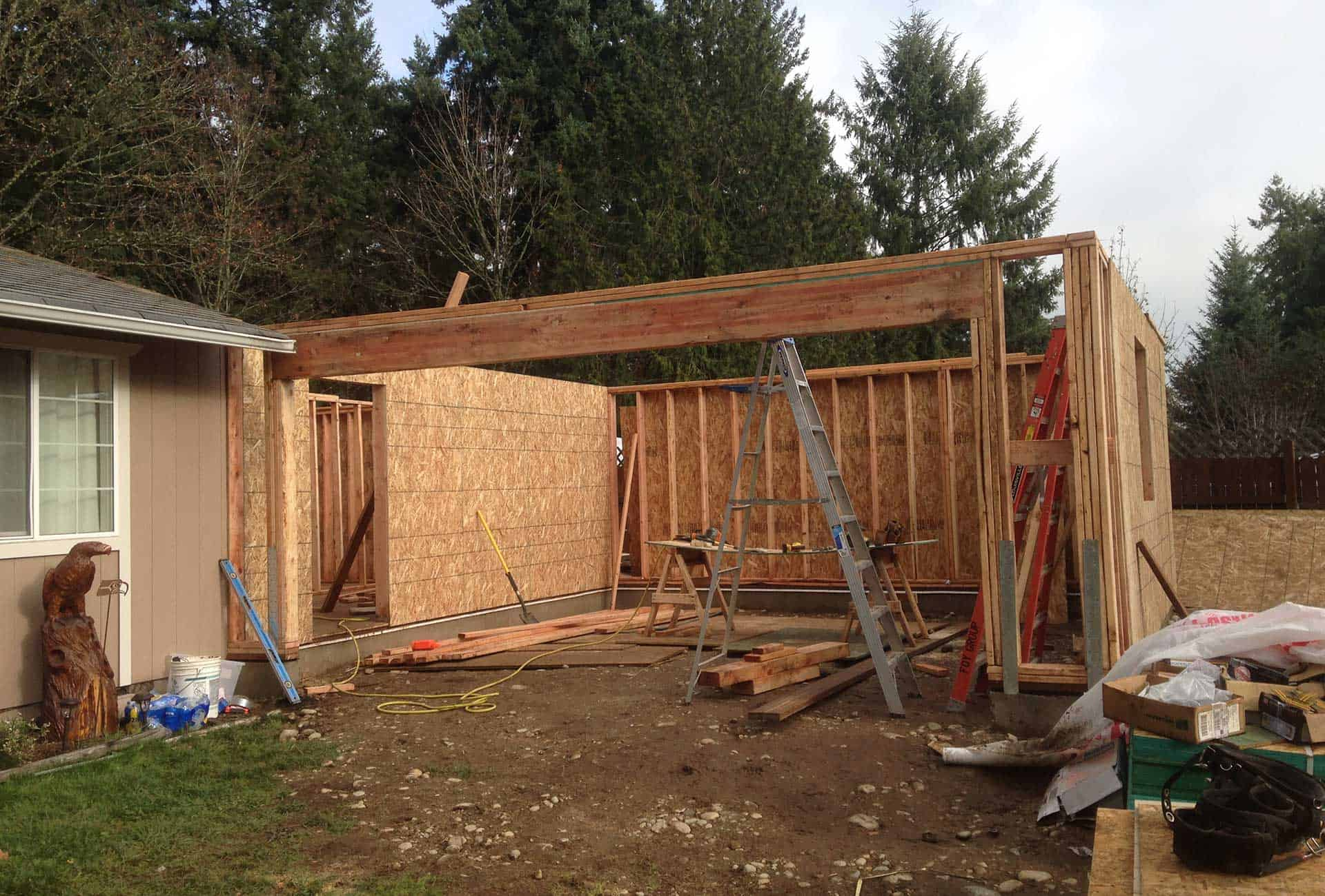 During construction of residential addition of garage