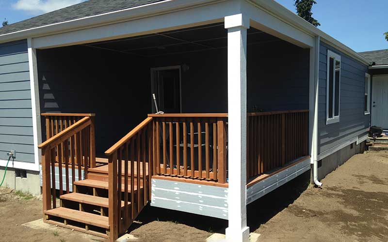 After construction of residential addition of covered porch