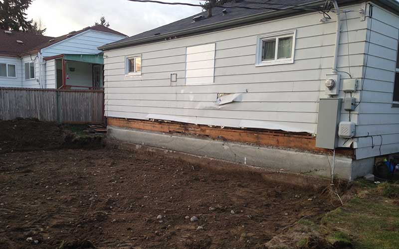 Before construction of residential addition of covered porch