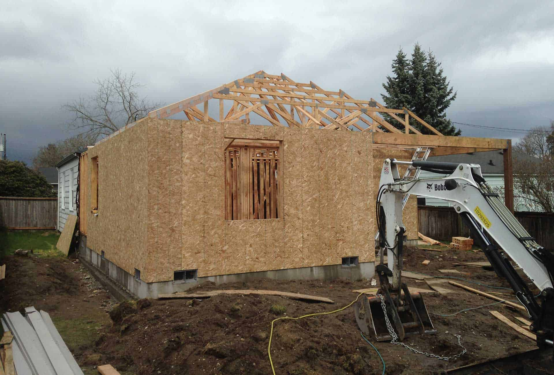 During construction of residential addition of covered porch